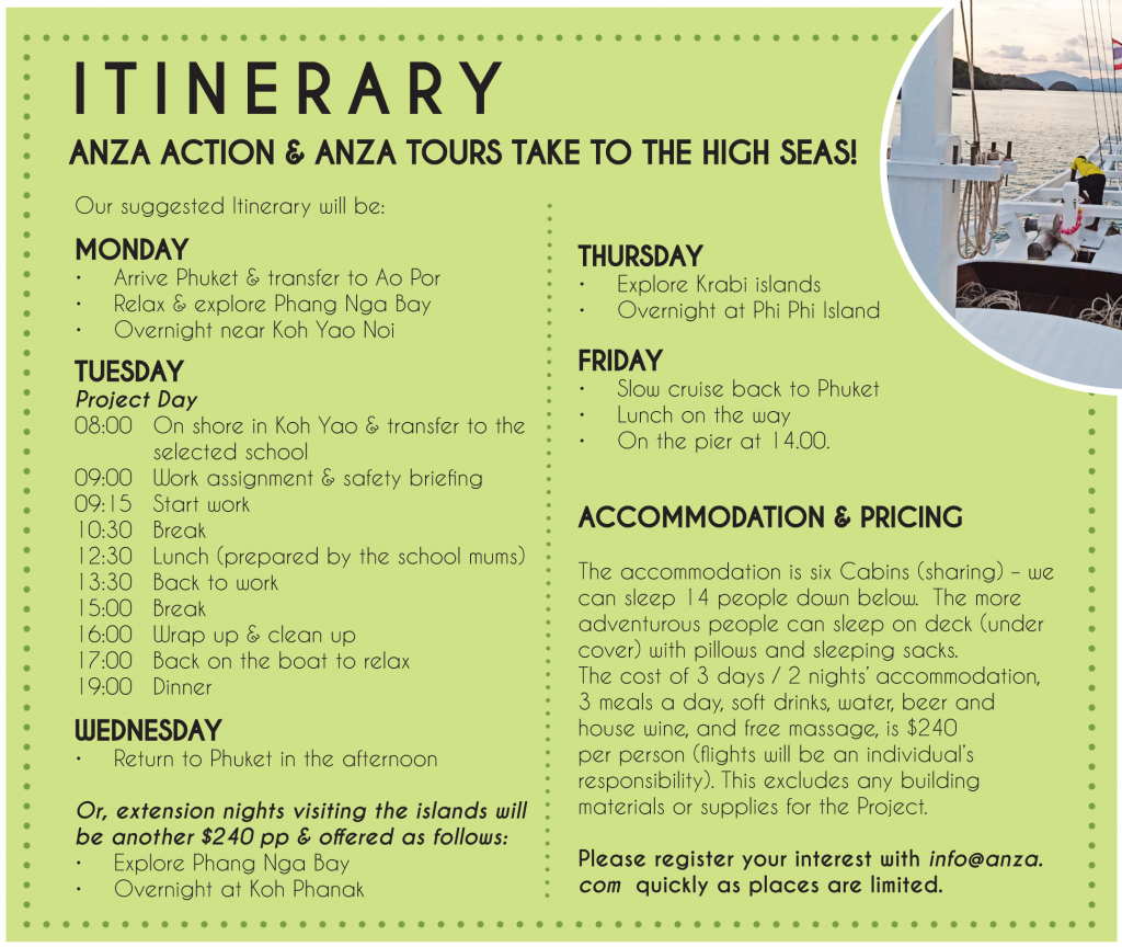 ANZA Community Cruise Itinerary