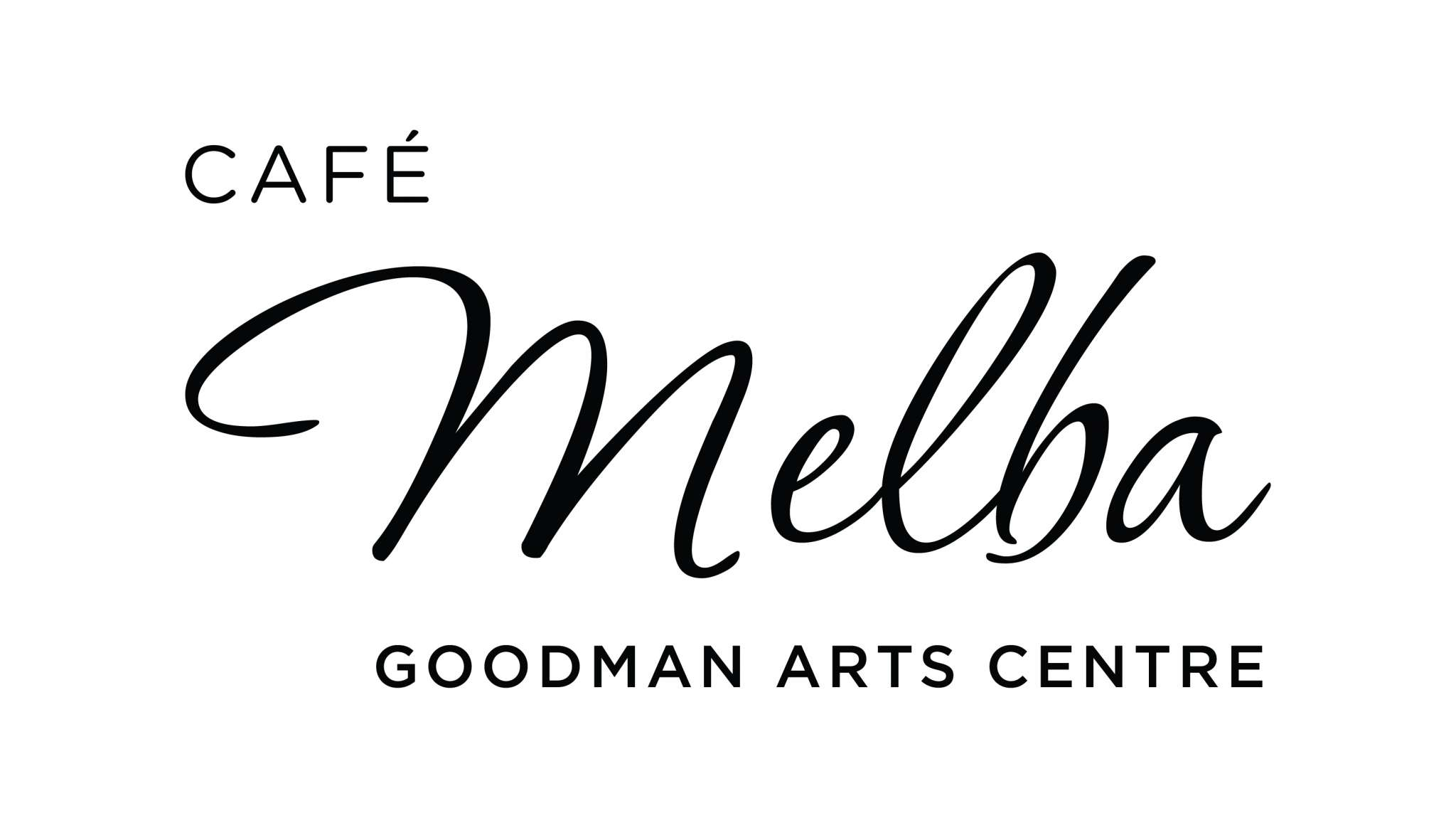 Cafe Melba Goodman Arts Centre Logo Identity Black Anza