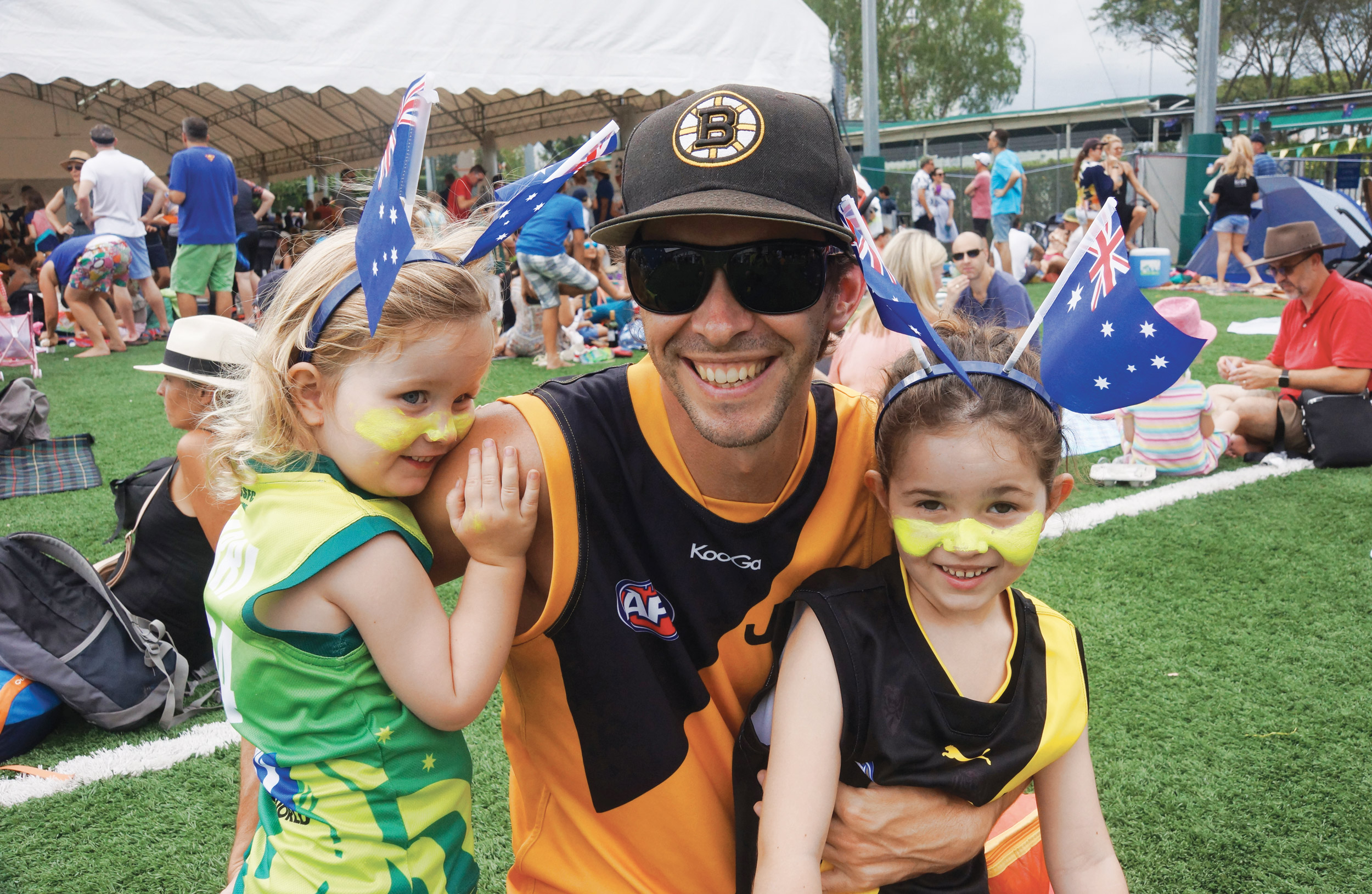 Family at outdoor event, Australia Day Event