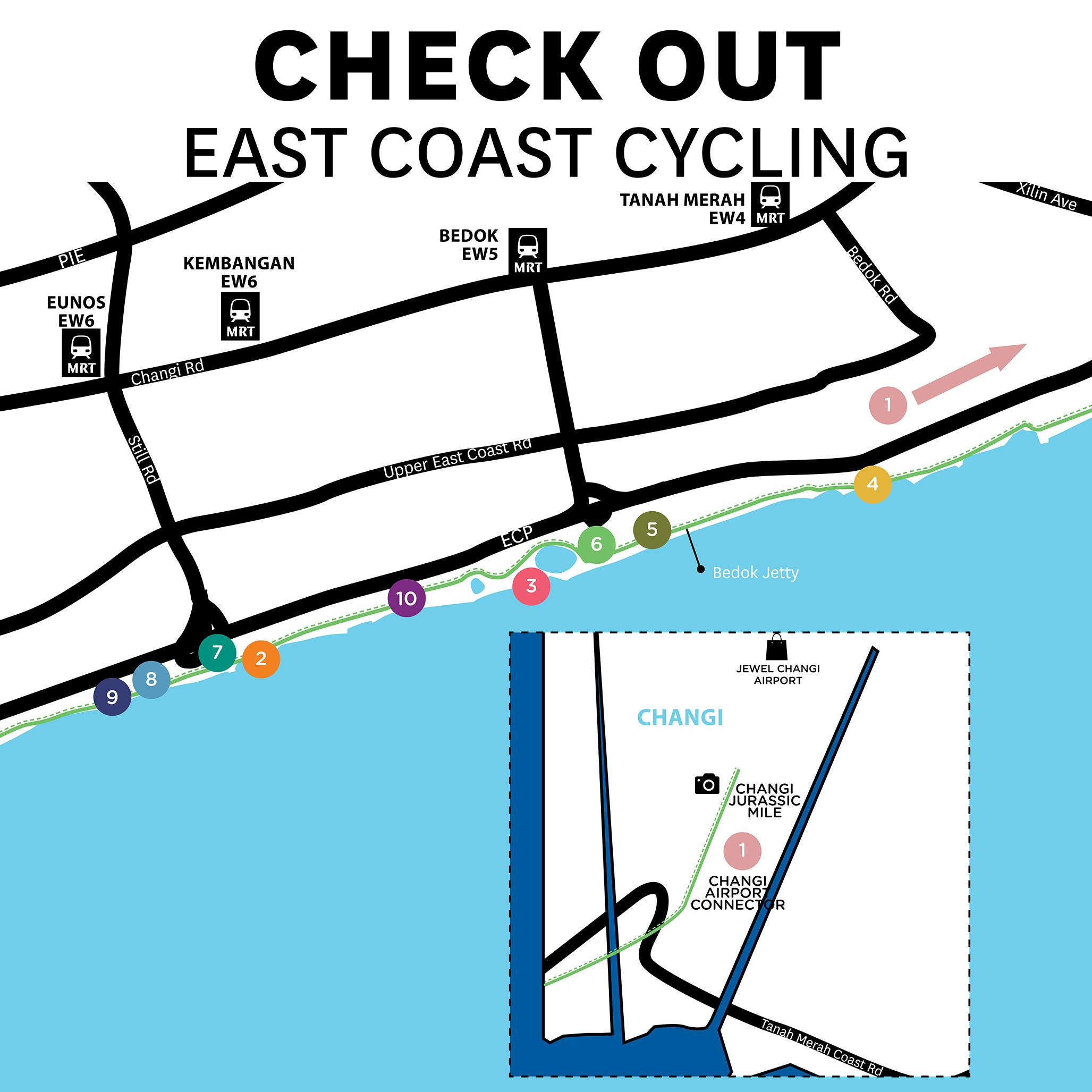 East Coast Cycling Map