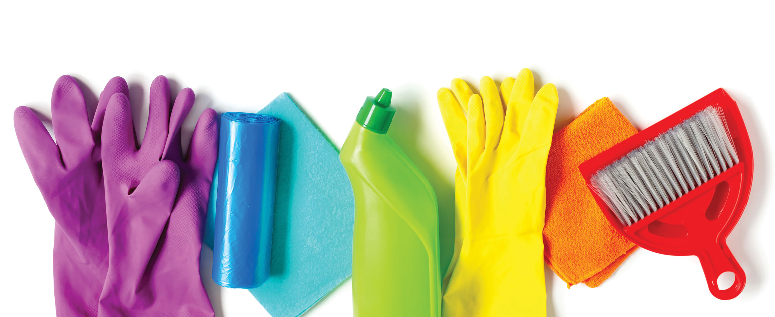 Colourful cleaning supplies
