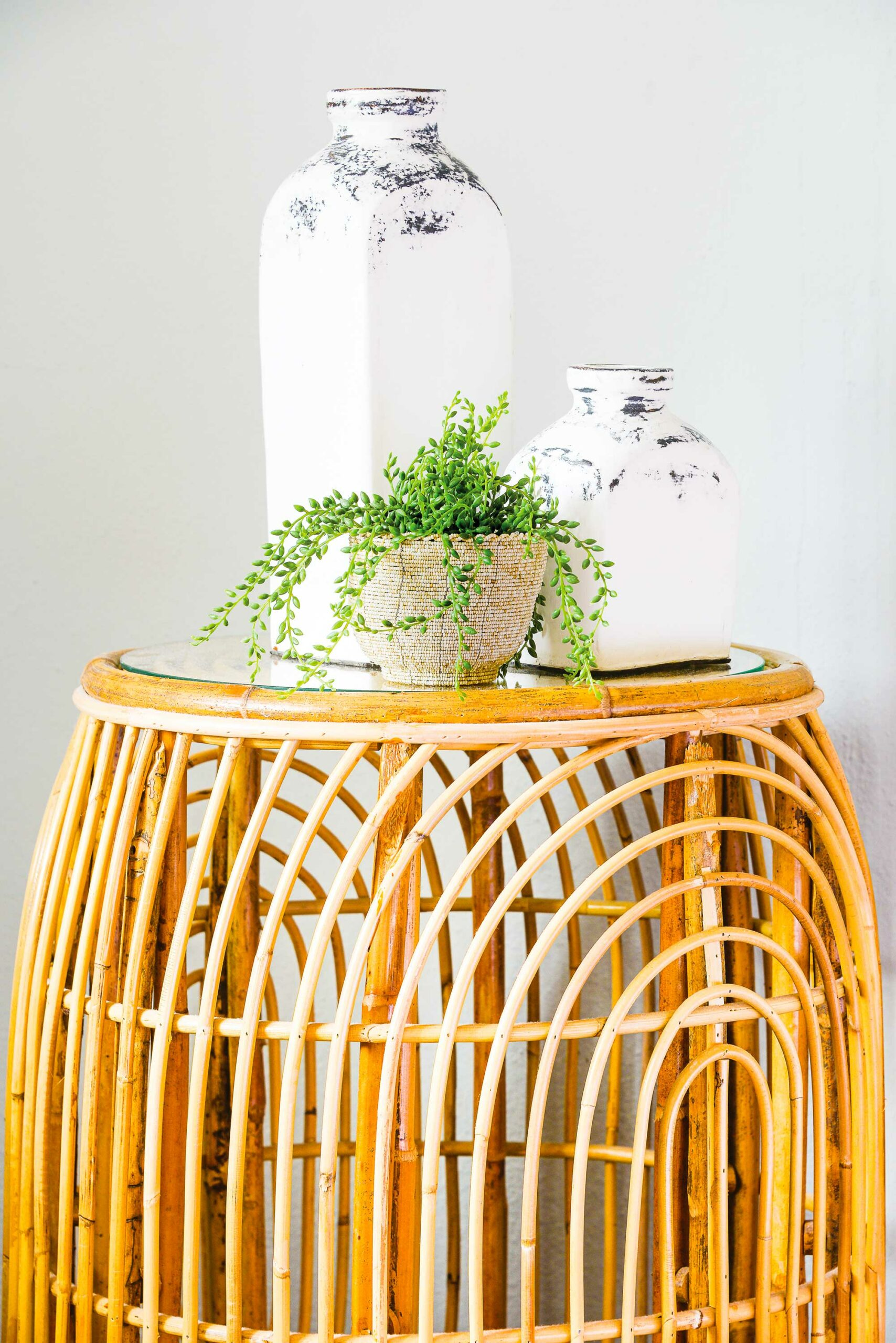 cane furniture, green plant, white rustic vases