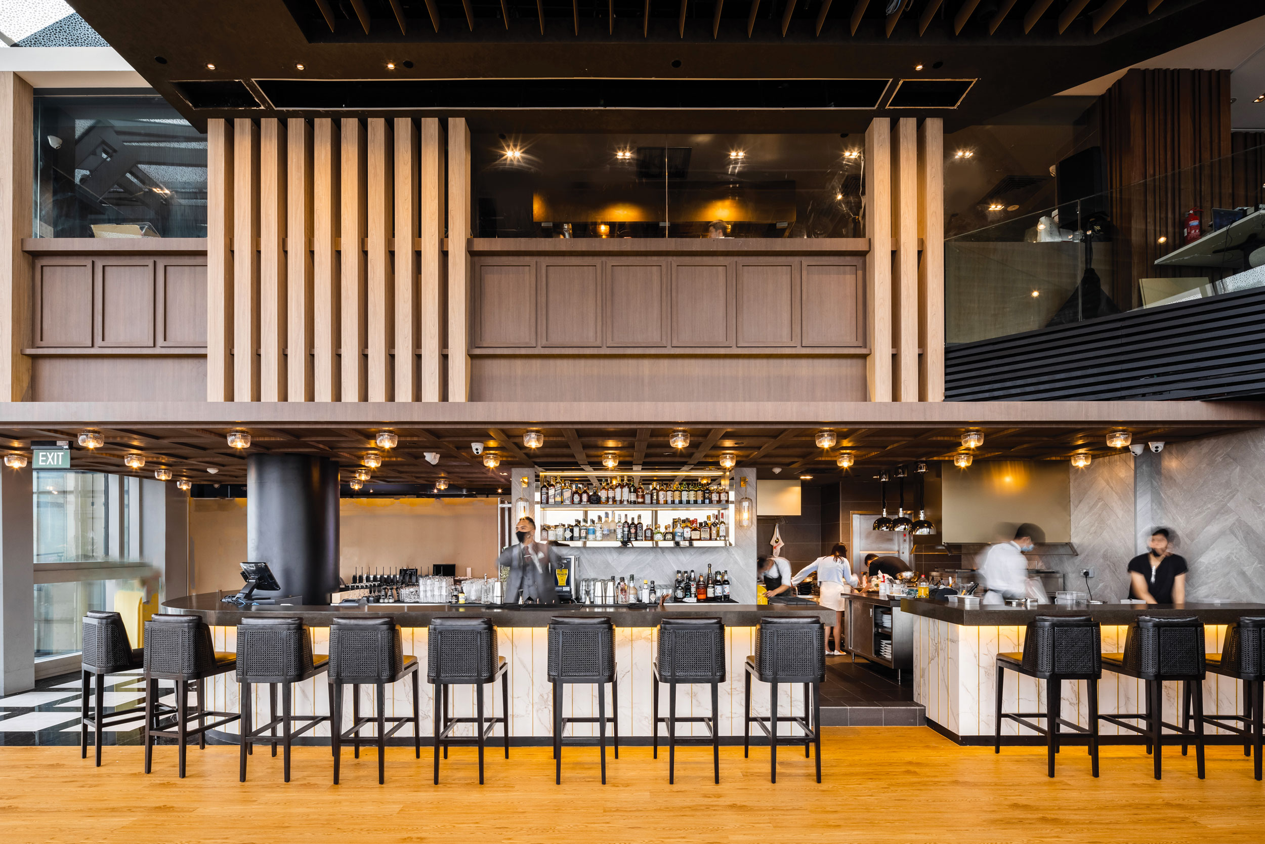 Flnt, modern bar, sleek dining experience