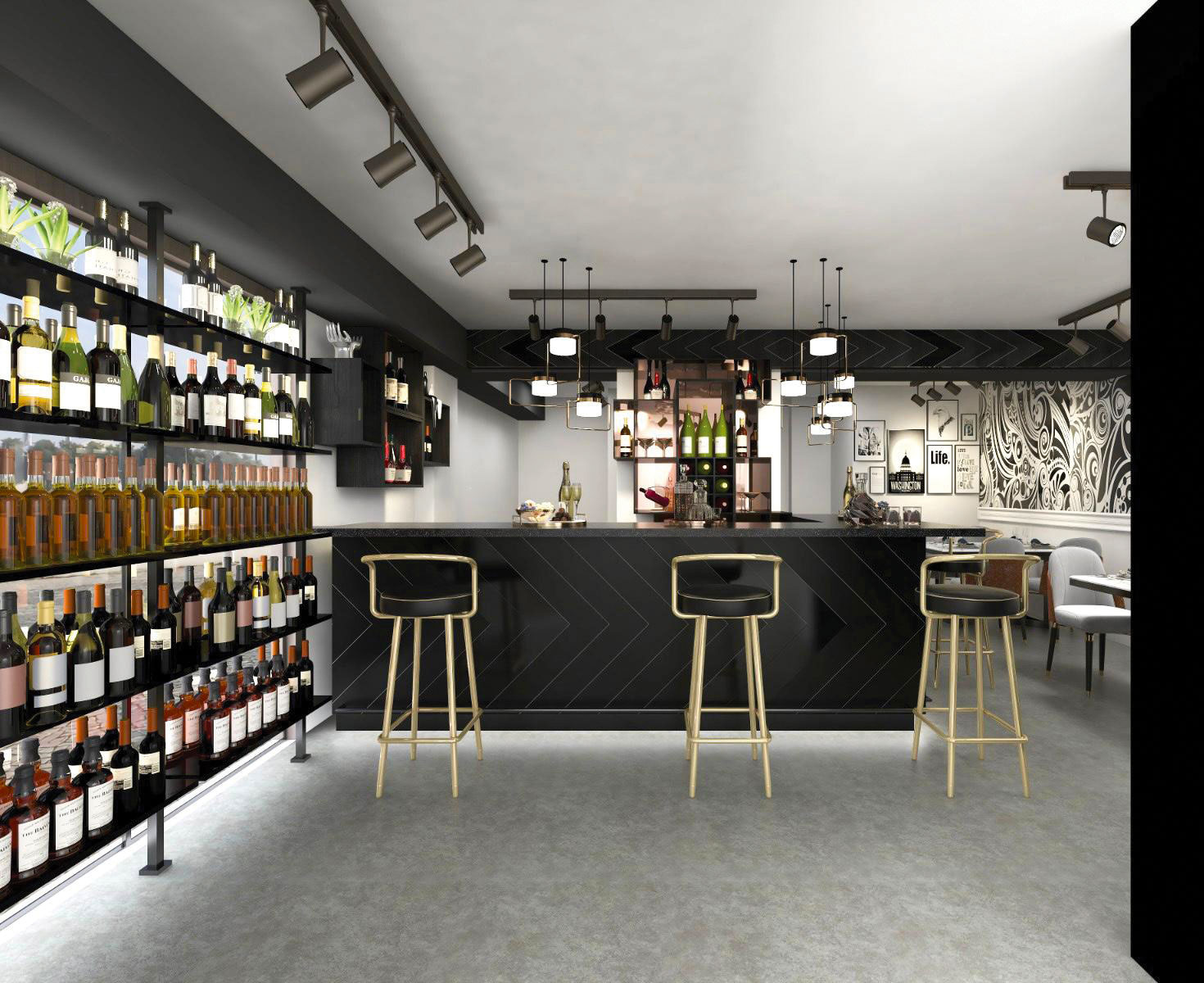 hip bar and restaurant, wines and spirits bar counter