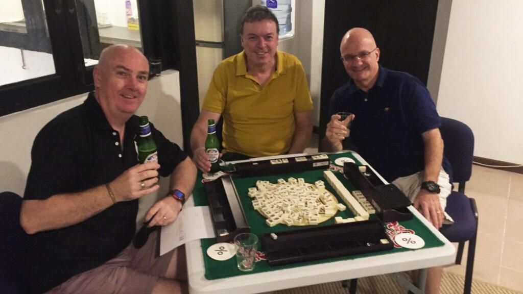 Men playing mahjong