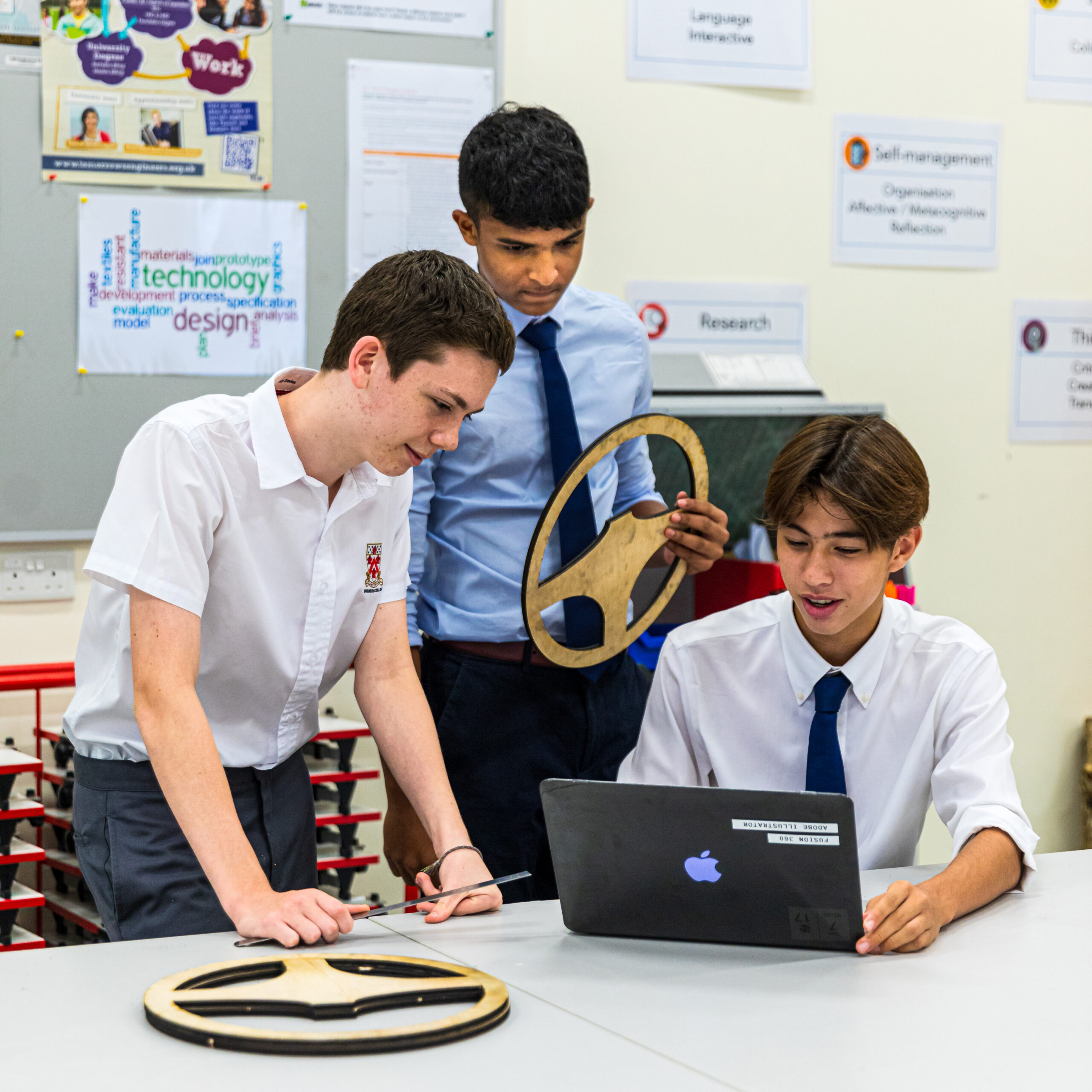 Students discussing project