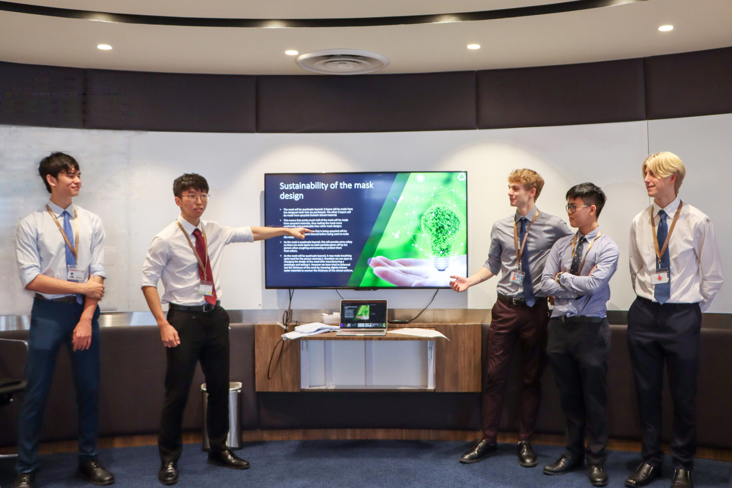 Students presenting powerpoint slides