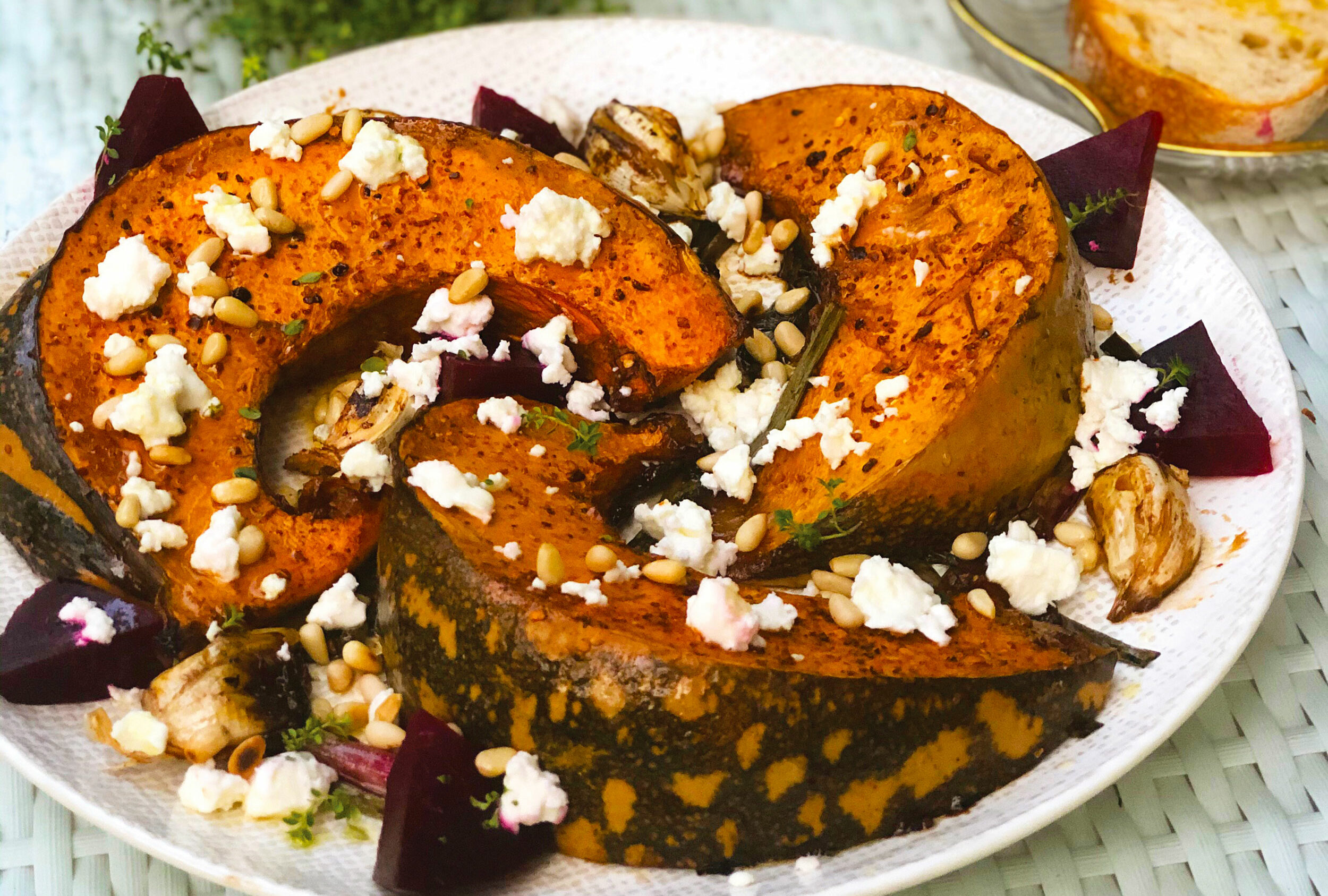 Roasted pumpkin with cheese