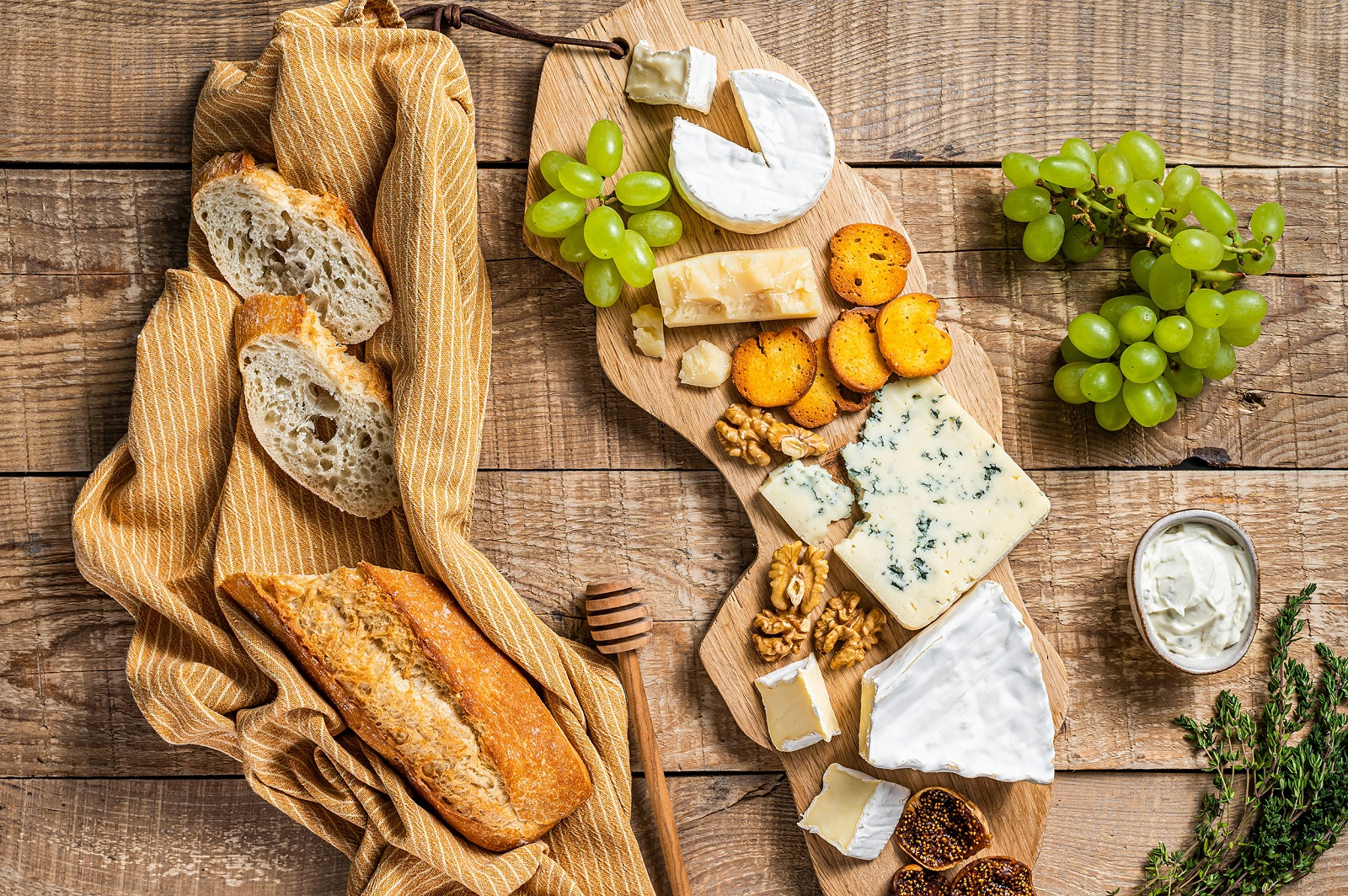 French bread and cheeses