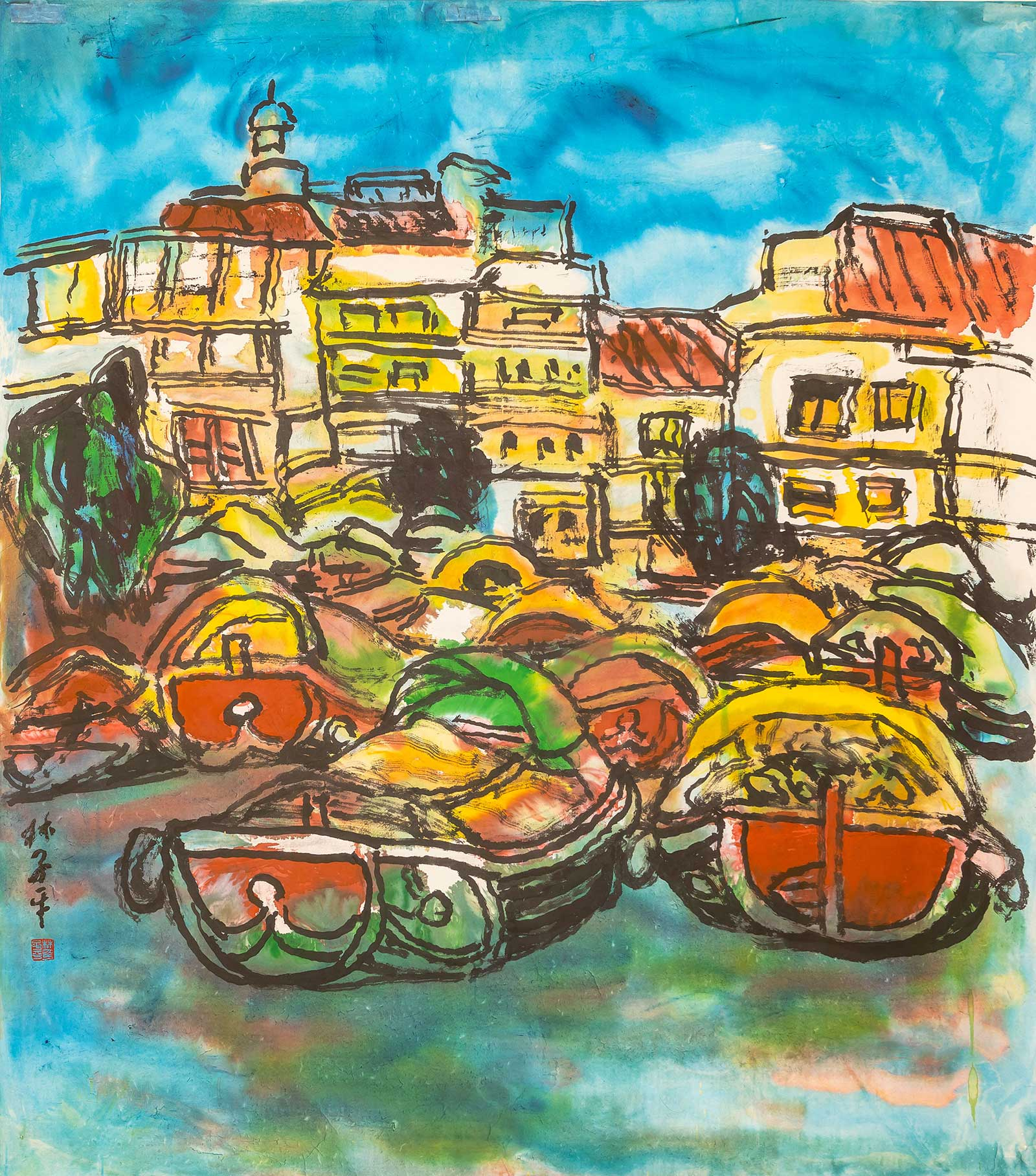 Lim Tze Peng-Bumboats at Boat Quay Chinese Ink on Paper